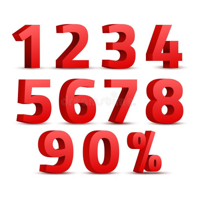 Satz des roten Zeichens der Zahlen 3D Symbol der Zahl 3D mit Prozentrabattdesign lizenzfreie abbildung