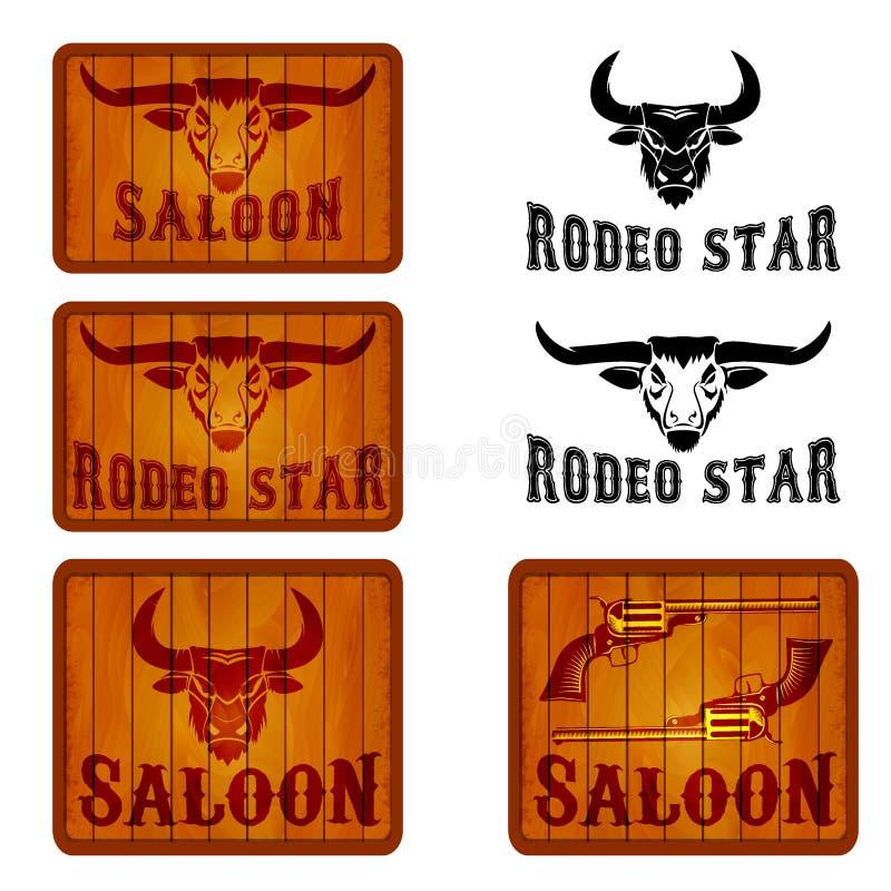Satz des Saals und des Rodeos versinnbildlicht Schablonen mit Stierköpfen lizenzfreie abbildung