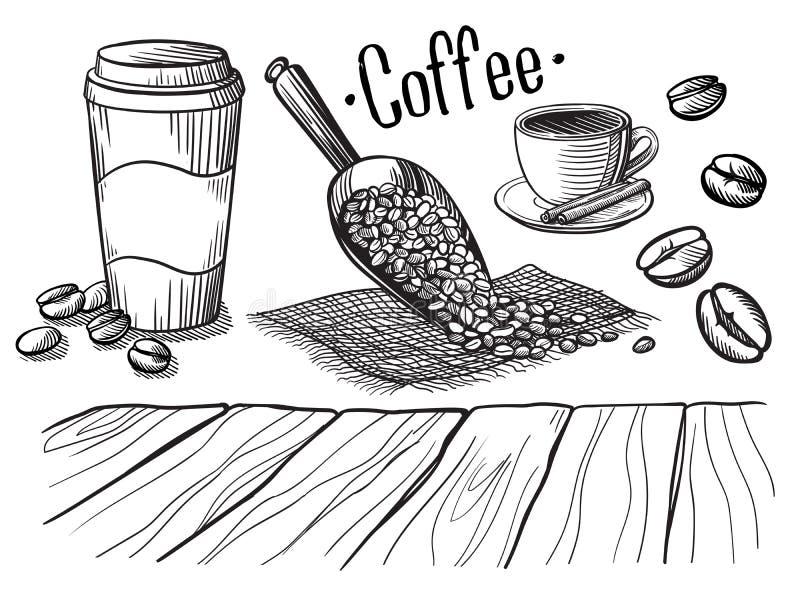 Satz des Schalen- und Kaffeetürken stock abbildung