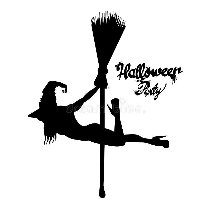 Satz des Schattenbildbildes von Halloween-Hexen Hexe, Halloween, Vektor, Karikatur, Illustration stock abbildung
