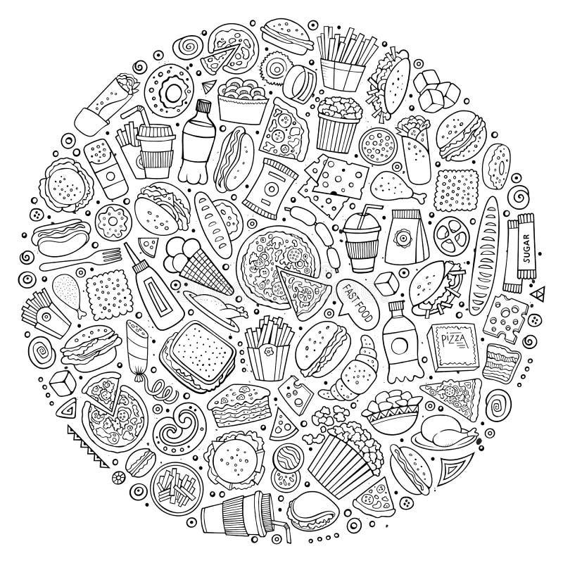 Satz des Schnellimbisskarikaturgekritzels wendet, Symbole und Einzelteile ein lizenzfreie abbildung
