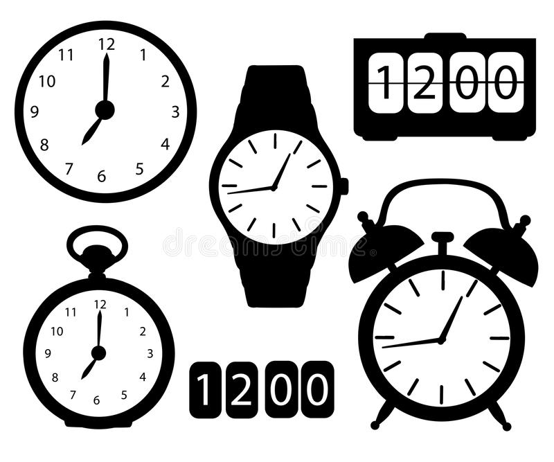 Satz des schwarzen Ikonenschattenbildes stoppt ab und passt Stoppuhrarmbanduhrwanduhrkarikatur-Vektor illustrati der Warnung digi stockfotos