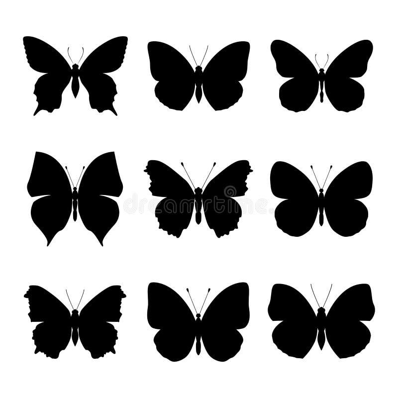Satz des schwarzen Schmetterlingsschattenbildes stock abbildung