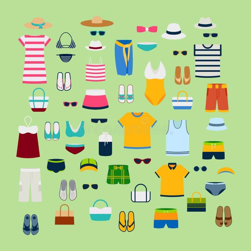 Satz des Sommerkleidungs- und -Zubehörvektorillustrations-Modekleidungs-Modebildes entwerfen vektor abbildung