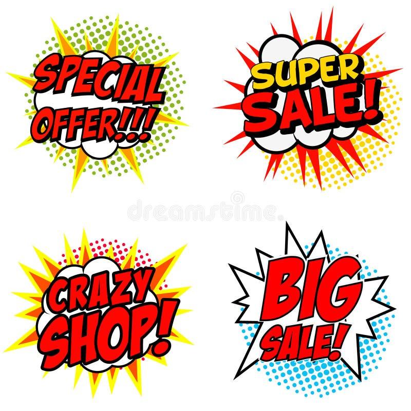 Satz des Sonderangebots!!! Superverkauf! Verrückter SHOP! Großer Verkauf! Phrase lizenzfreie abbildung