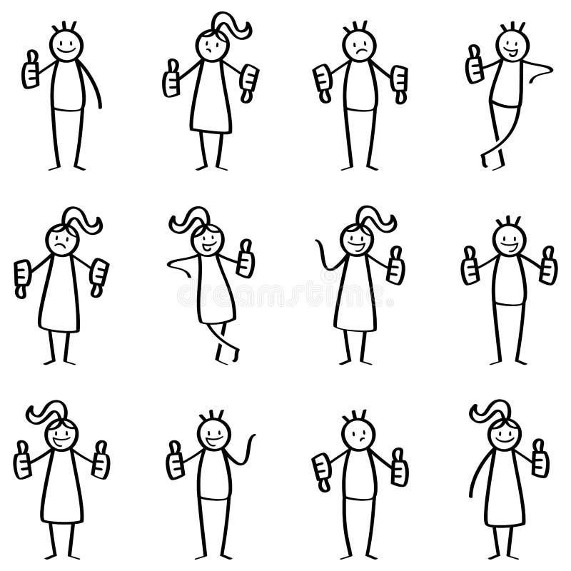 Satz des Stockes stellt, die Strichmännchen dar, die Daumen, Daumen unten aufgeben und genehmigt und missbilligt, Gesten, Handzei vektor abbildung