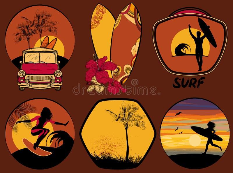 Satz des surfenden Designstrandes und Ozean reden Ausweise und Embleme an lizenzfreie abbildung