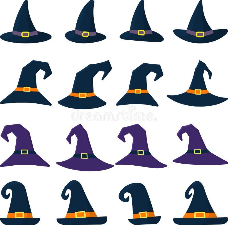Satz des unterschiedlichen Hutes der Hexe sechzehn in der Karikaturart Glückliches Halloween stock abbildung