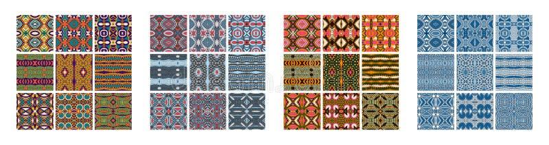 Satz des unterschiedlichen nahtlosen farbigen geometrischen Musters der Weinlese lizenzfreie abbildung