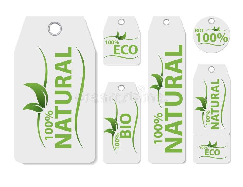 Satz des Vektor-Preisaufklebers für Naturprodukt Neues gesundes organisches Lebensmittel des strengen Vegetariers Organisches, Le stock abbildung