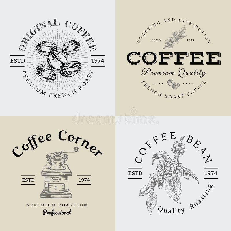Satz des Vektor-Weinlese-Kaffee-Logos und der Illustration, die Engra zeichnen stock abbildung