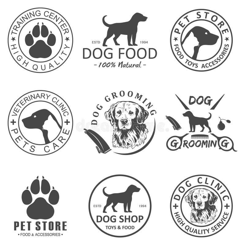 Satz des Vektorhundelogos und Ikonen für den Hund schlagen mit einer Keule oder kaufen und pflegen sich und bilden aus stock abbildung