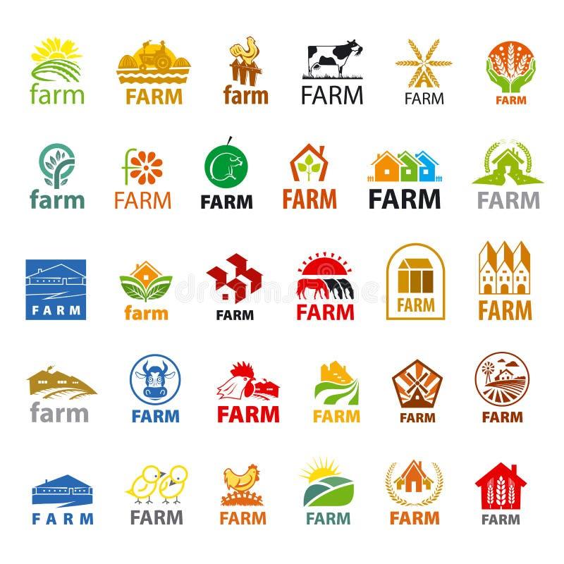 Satz des Vektorlogobauernhofes stock abbildung