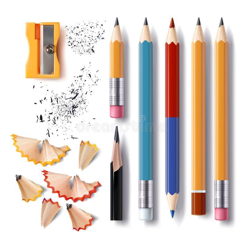 Satz des Vektors schärfte Bleistifte von verschiedenen Längen mit einem Gummi, ein Bleistiftspitzer, Bleistiftschnitzel stock abbildung