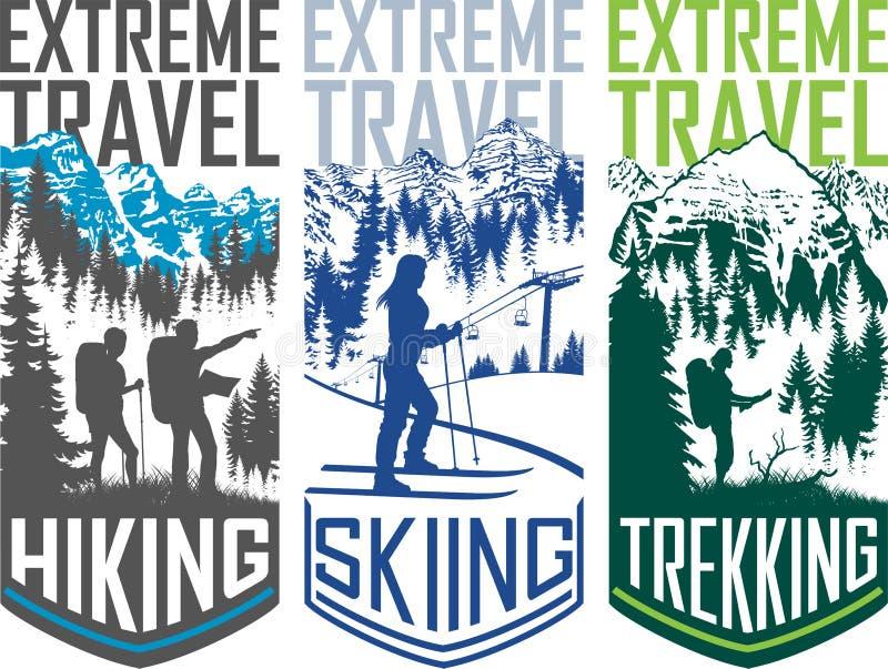 Satz des Vektors Skifahrentrekkingsreise flayer Illustration wandernd stock abbildung