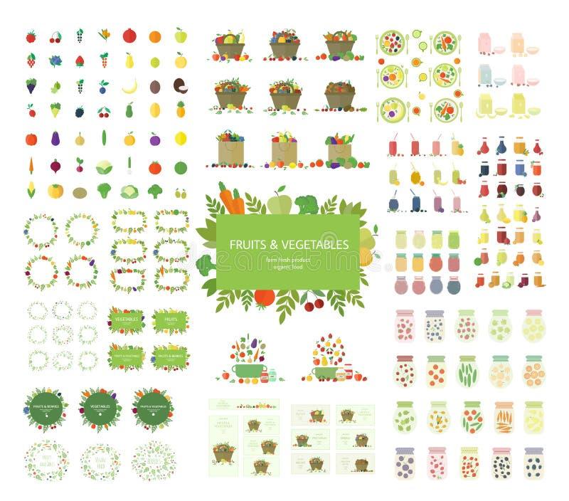 Satz des Vektorstrengen vegetariers Lebensmittel, Taschen, Rahmen, Logos herein lizenzfreie abbildung