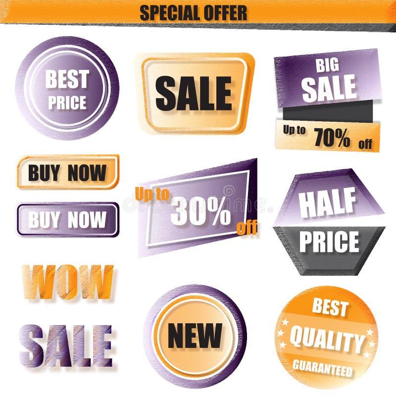 Satz des Verkaufs, kaufen jetzt, neue, Fahne zum halben Preis im Gelb und purpl stock abbildung