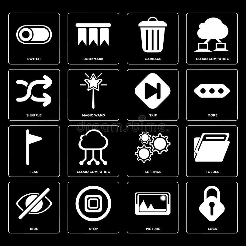 Satz des Verschlusses, Bild, Fell, Einstellungen, Flagge, Sprung, Schlurfen, Garba lizenzfreie abbildung