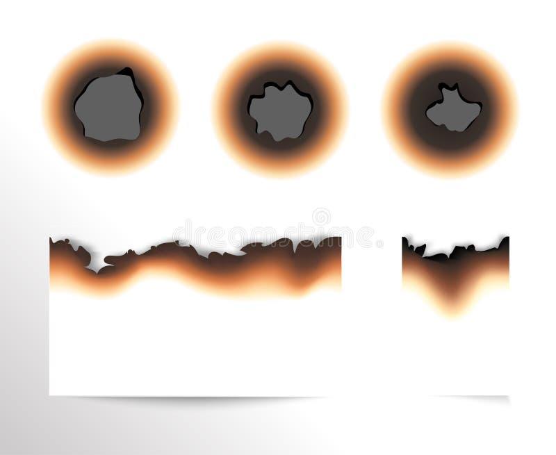 Satz des versengten Blattes Papier und gebrannte Löcher auf weißem Hintergrund lokalisierte Vektorillustration stock abbildung