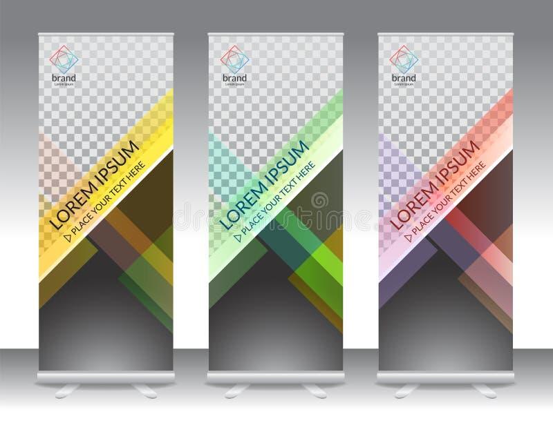 Satz des vertikalen abstrakten Anzeigenfahnenstands oder rollen oben Design lizenzfreie abbildung