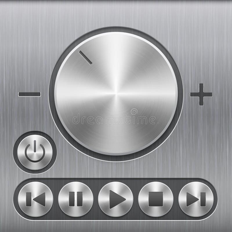 Satz des Volumentonsteuerknopfes, rundes Metall knöpft mit grundlegenden Audiosymbolen und mit gebürsteter Beschaffenheit stock abbildung