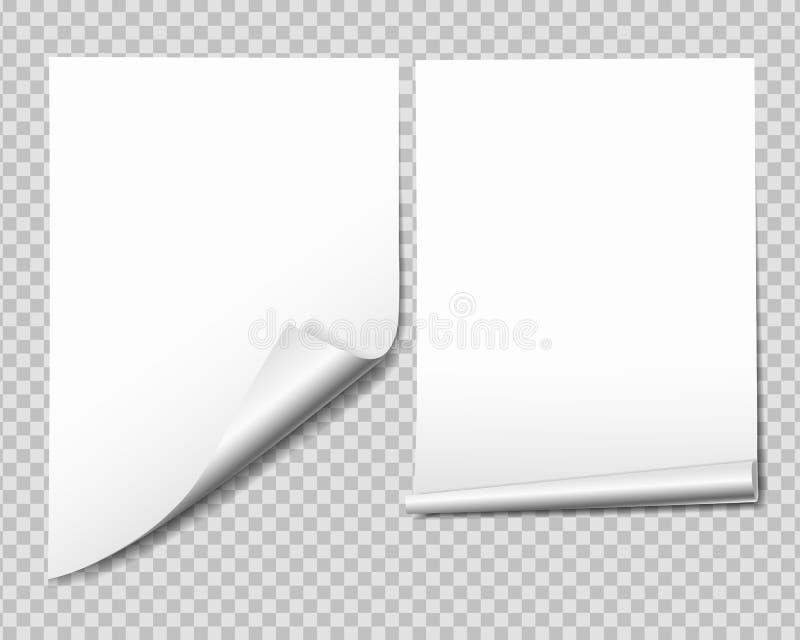Satz des weißen Blattes Papier mit verbogener Ecke, lokalisiert auf transp vektor abbildung
