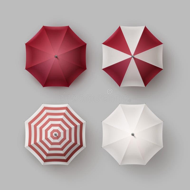 Satz des weißes Rot geöffneten Regenschirm-Sonnenschirm-Sonnenschutz vektor abbildung