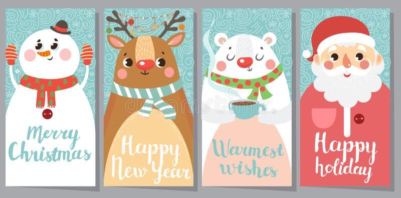 Satz des Weihnachts- und des neuen Jahresgrußes Karten vektor abbildung