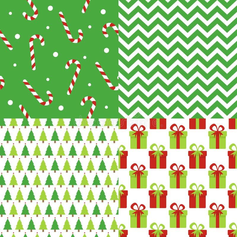 Satz des Weihnachts- und des guten Rutsch ins Neue Jahrnahtlosen Musters Datei enthält Transparenz, Steigungen vektor abbildung