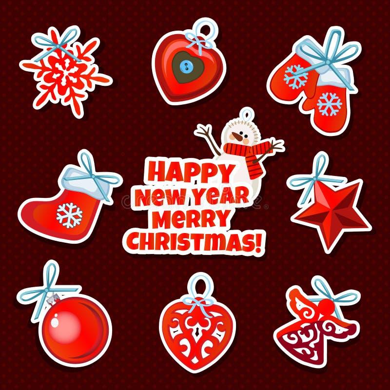 Satz des Weihnachtsaufklebers spielt auf einem roten Hintergrund lizenzfreie abbildung