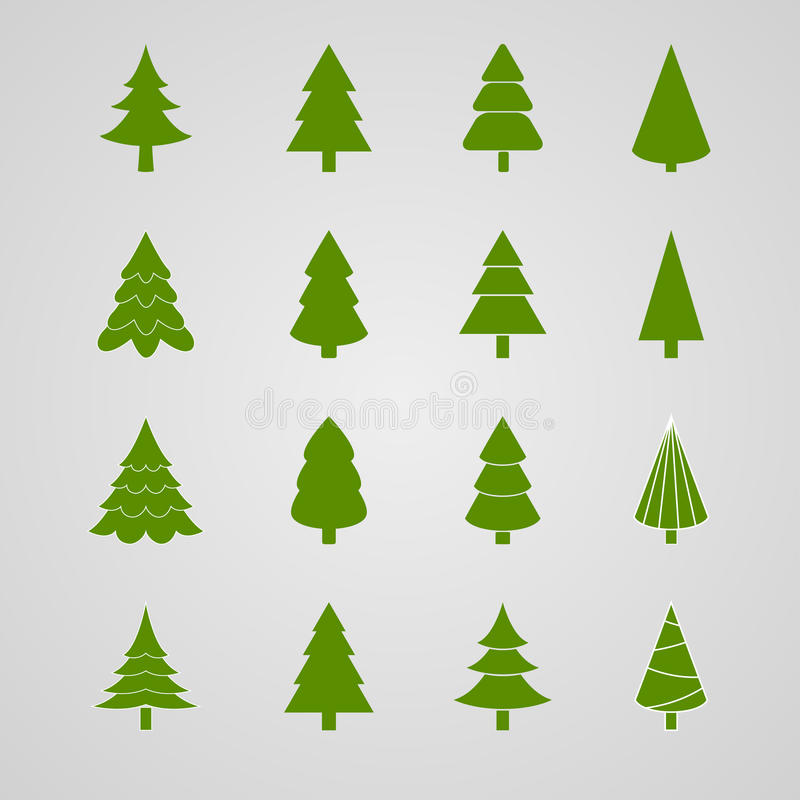 Satz des Weihnachtsbaums stockfoto