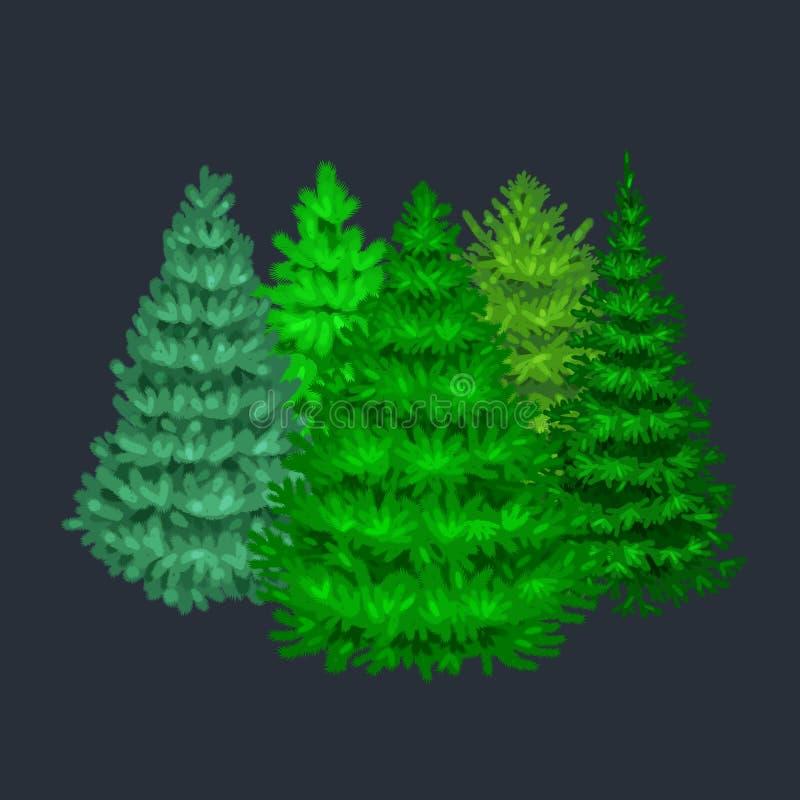 Satz des Weihnachtsvektorbaums mögen Tanne oder Kiefer Blautanne für Feier des neuen Jahres ohne Feiertagsdekoration, Immergrün stock abbildung
