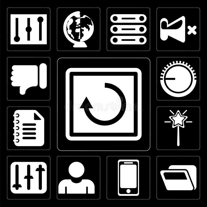 Satz des Wiederanlaufs, Ordner, Smartphone, Benutzer, Kontrollen, magischer Stab, lizenzfreie abbildung