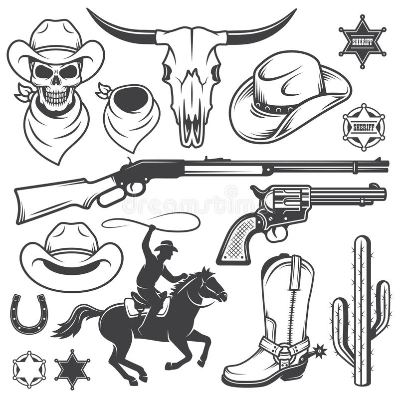 Satz des wilden Westcowboys entwarf Elemente vektor abbildung