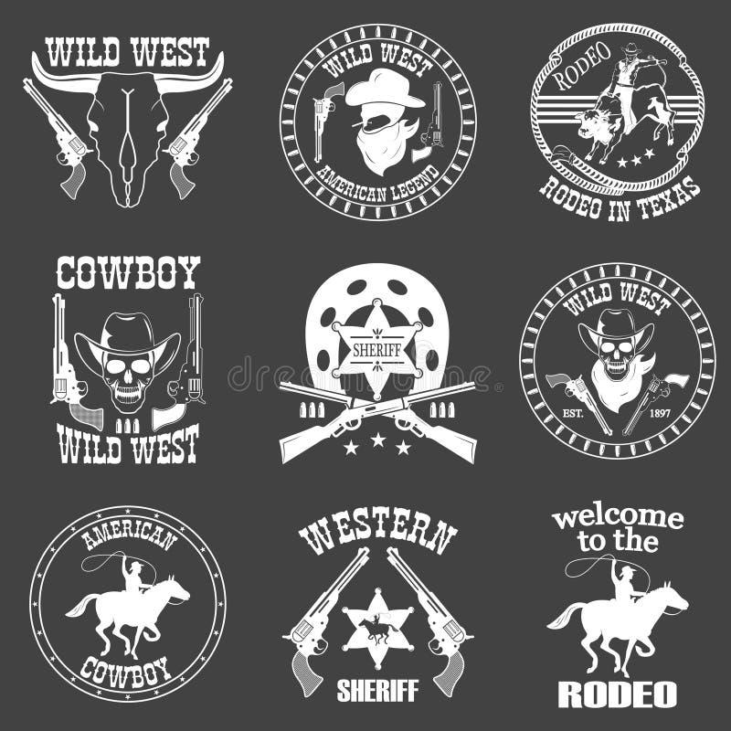 Satz des wilden Westcowboys entwarf Elemente stock abbildung