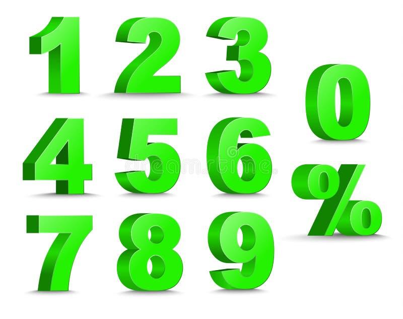 Satz des Zeichens der Zahlen 3D und der Prozente stock abbildung