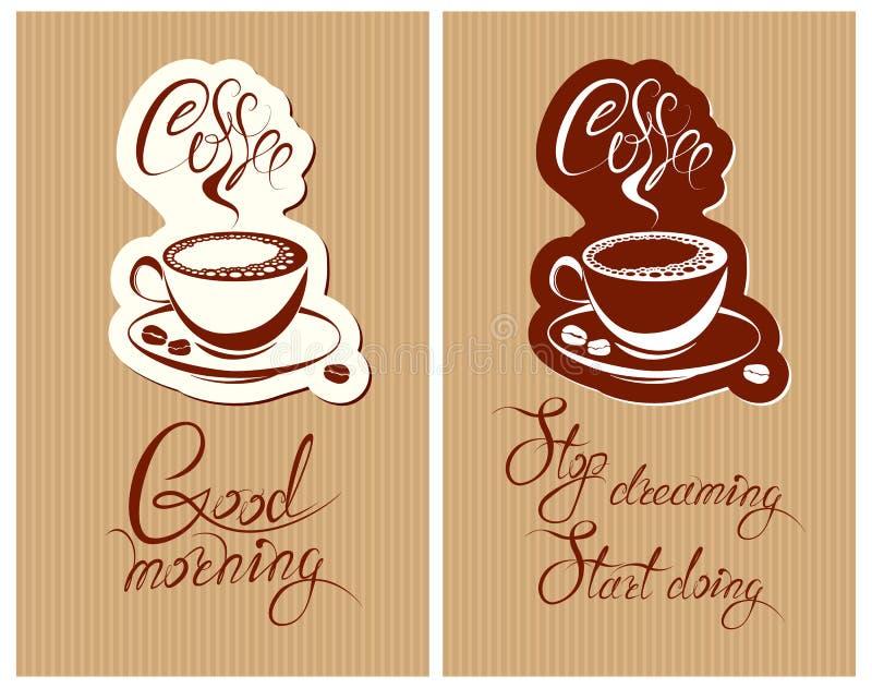 Satz Design der Schablone Flayer oder des Menüs für Café Backgroun stock abbildung