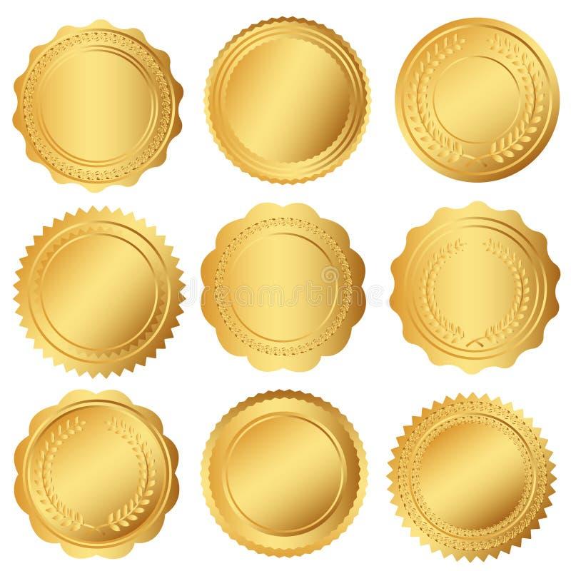 Satz Dichtung oder goldene Medaillen vektor abbildung
