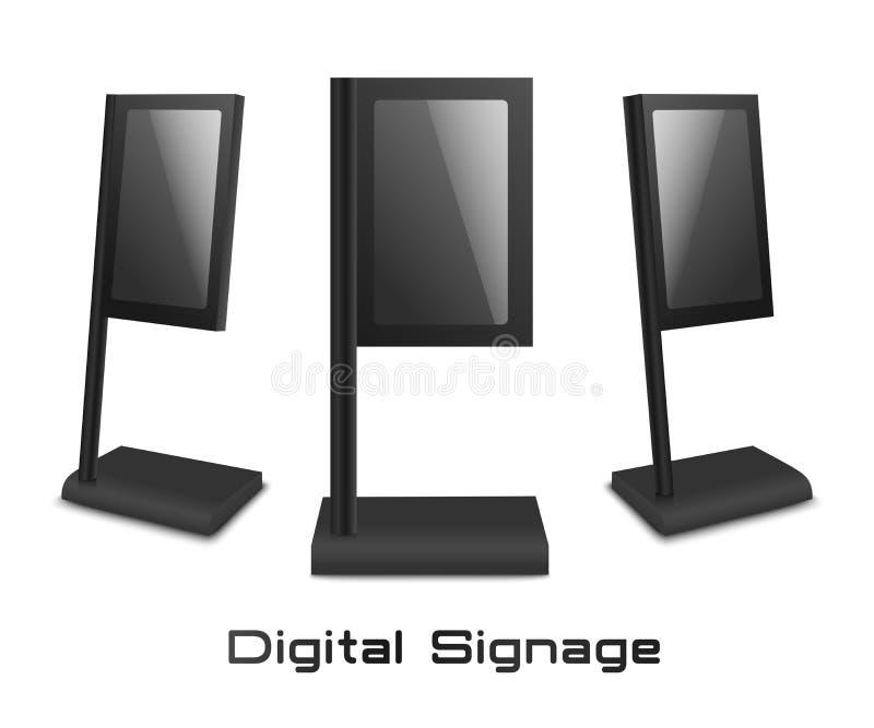 Satz digitaler Kiosk steht 3D-Mockup oder Template-Vektorgrafik isolierisoliert lizenzfreie abbildung
