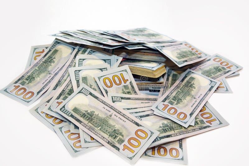 Satz Dollar in einem Stapel des Geldes stockbilder