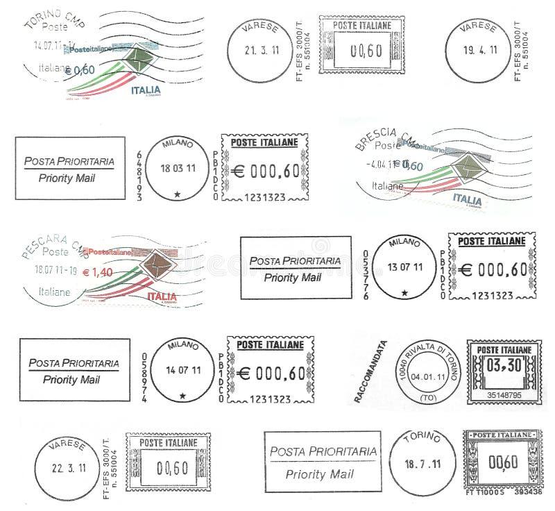 Satz dunkle italienische Poststempel lizenzfreies stockbild