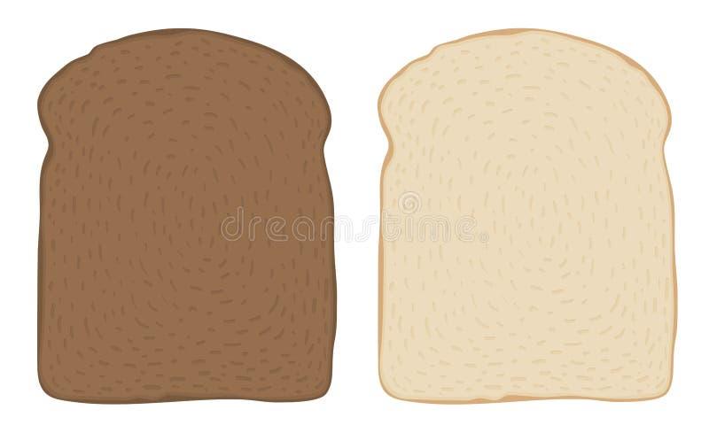 Satz dunkle und weiße Toastbrotscheiben über Weiß Auch im corel abgehobenen Betrag lizenzfreie abbildung