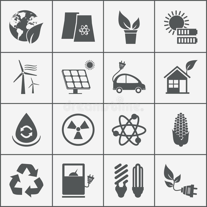Satz eco Energieikonen stock abbildung