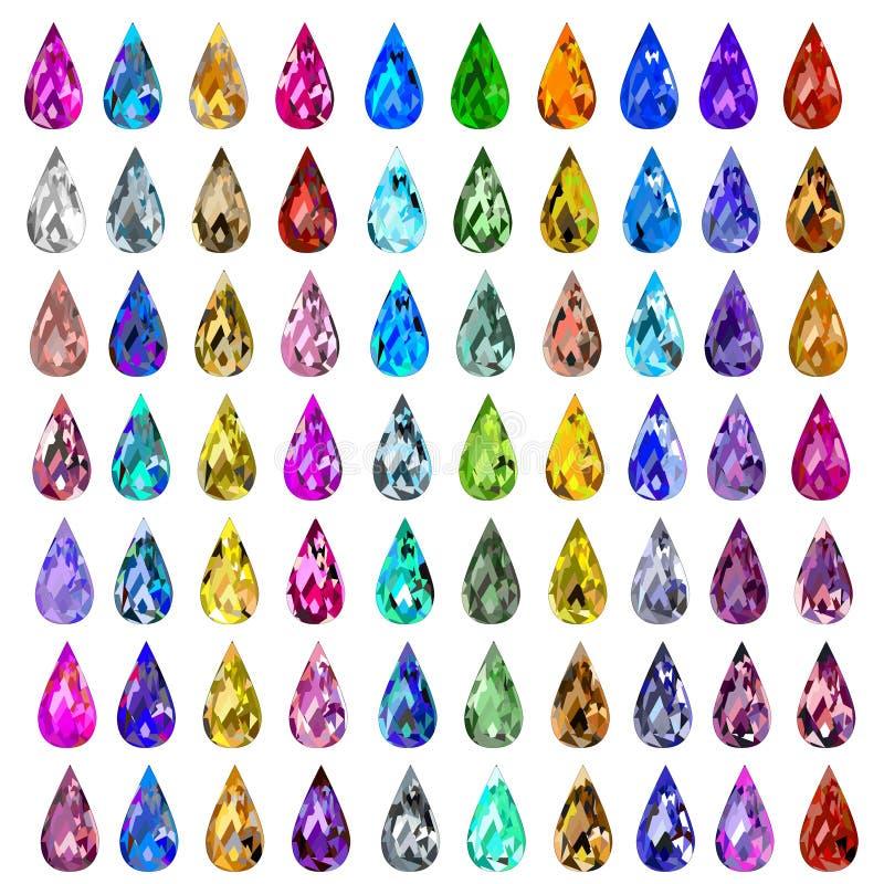 Satz Edelsteine von verschiedenen Farben lizenzfreie abbildung