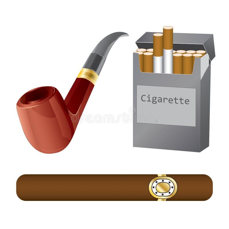 Satz eines Rohres, der Zigarre und der Zigarette lizenzfreie stockfotos