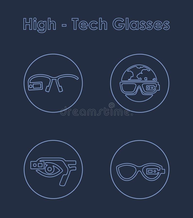 Satz einfache Ikonen der High-Techen Gläser stock abbildung