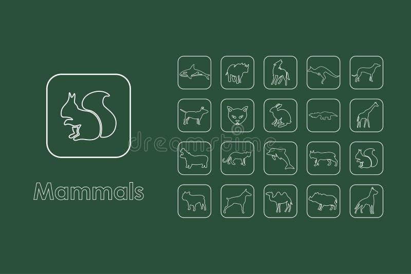 Satz einfache Ikonen der Säugetiere vektor abbildung