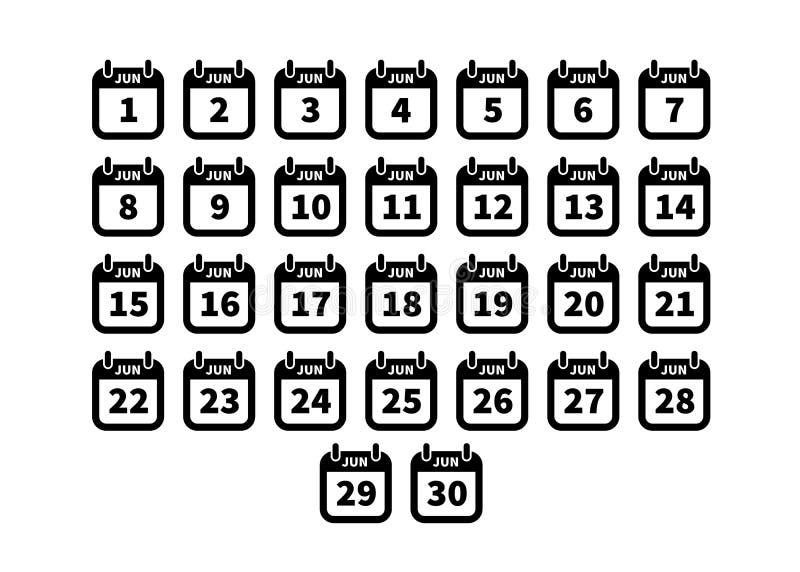 Satz einfache schwarze Kalenderikonen im Juni lokalisiert auf Weiß vektor abbildung