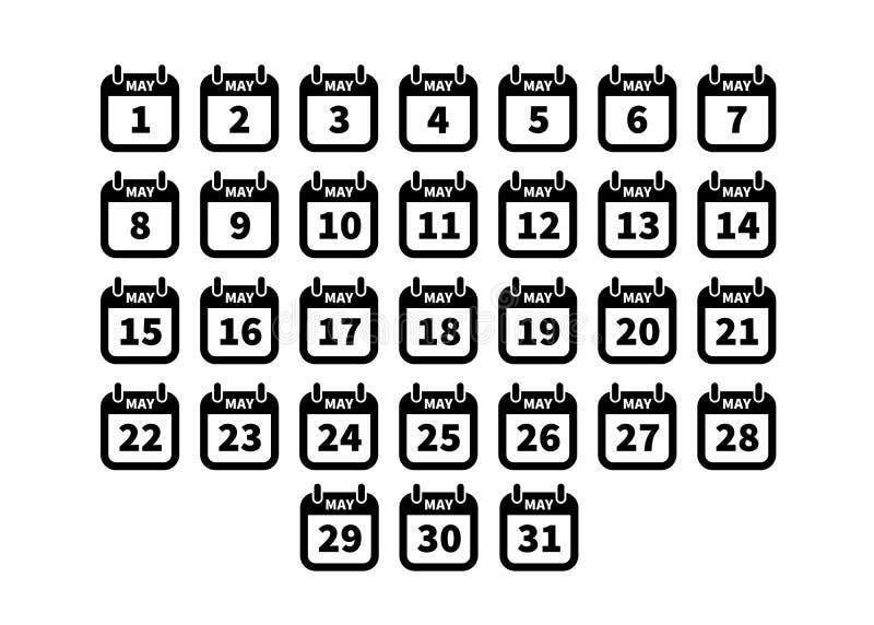 Satz einfache schwarze Kalenderikonen kann an lokalisiert auf Weiß lizenzfreie abbildung