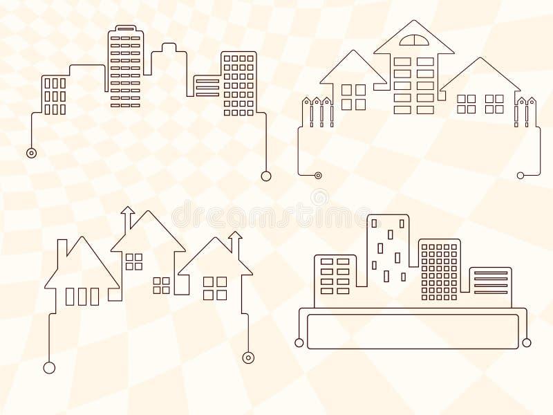 Satz einfache Vektorikonen mit Häusern lizenzfreie abbildung